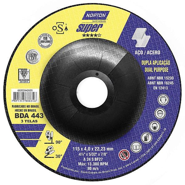 Disco de Desbaste BDA433 Super Inox 115 x 4 x 22,23 mm Caixa com 10
