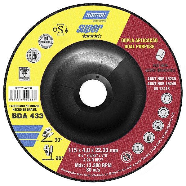 Caixa com 10 Disco de Desbaste BDA433 Super Inox 115 x 4 x 22,23 mm