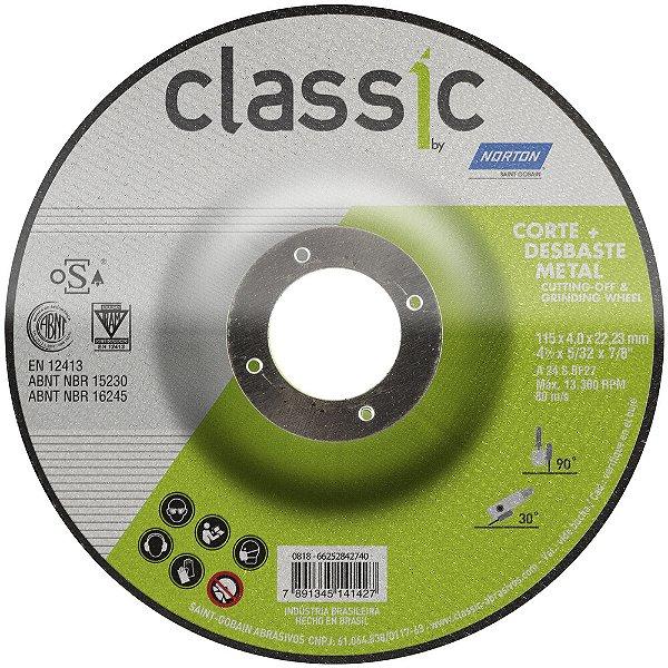 Caixa com 10 Disco de Desbaste Classic Basic BDA403 115 x 4 x 22,23 mm
