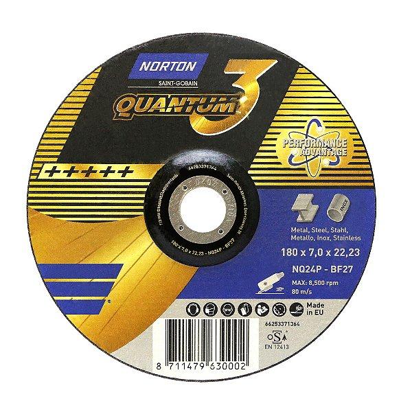Caixa com 10 Disco de Desbaste Quantum 3 180 x 7 x 22,23 mm