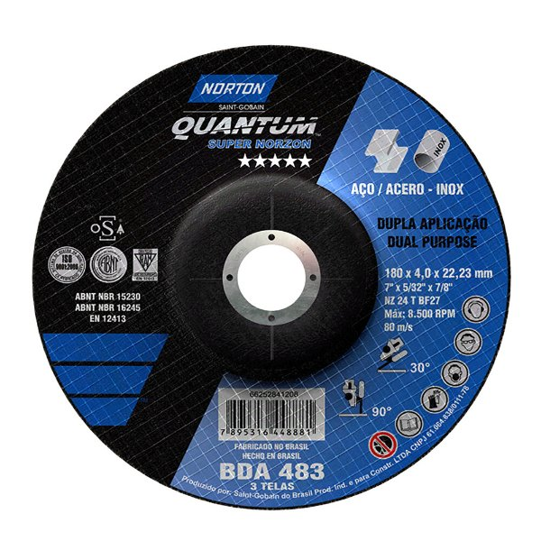 Disco de Desbaste Quantum BDA483 180 x 4 x 22,23 mm Caixa com 10