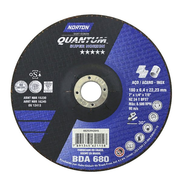 Disco de Desbaste Quantum BDA680 180 x 6,44 x 22,23 mm Caixa com 10
