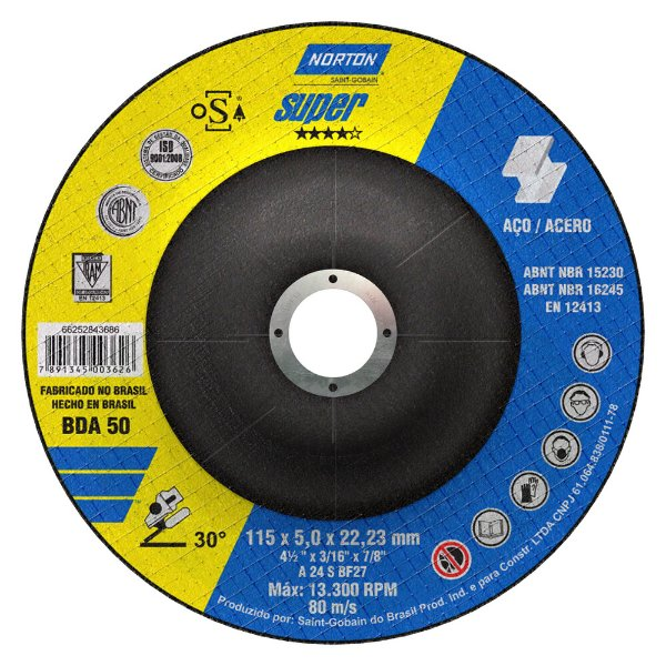 Caixa com 10 Disco de Desbaste Super Aços BDA50 115 x 5 x 22,23 mm
