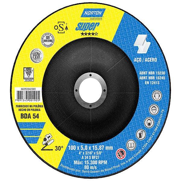 Disco de Desbaste Super Aços BDA54 100 x 5 x 15,87 mm Caixa com 10