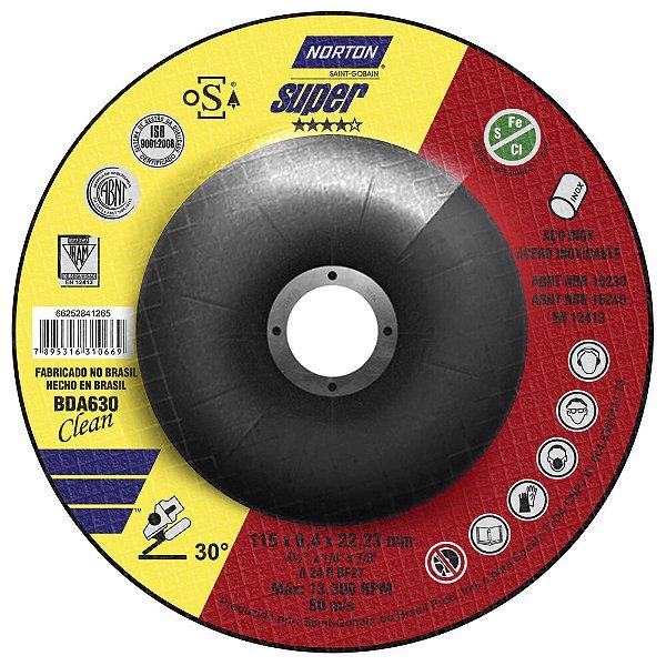 Caixa com 10 Disco de Desbaste Super Aços BDA630 Clean 115 x 6,4 x 22,23 mm