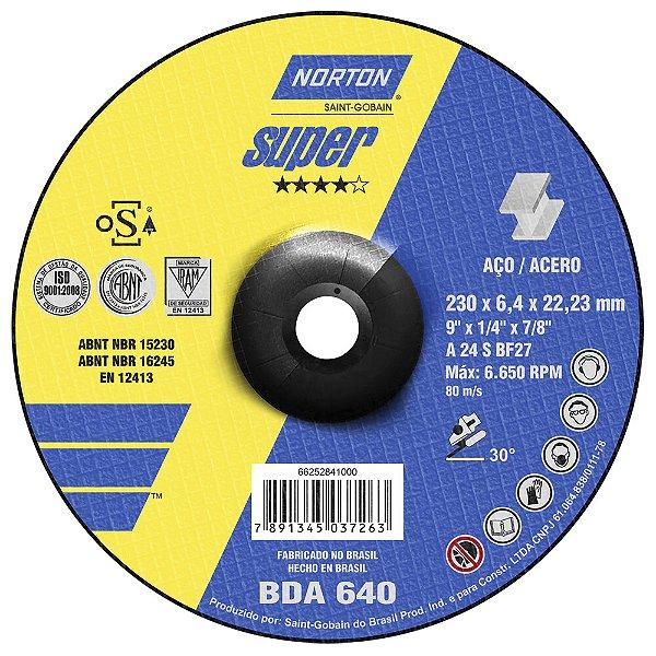 Disco de Desbaste Super Aços BDA640 230 x 6,4 x 22,23 mm Caixa com 10