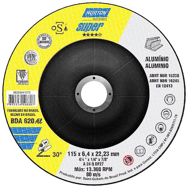Disco de Desbaste Super Alumínio BDA620 115 x 6,4 x 22,23 mm Caixa com 10