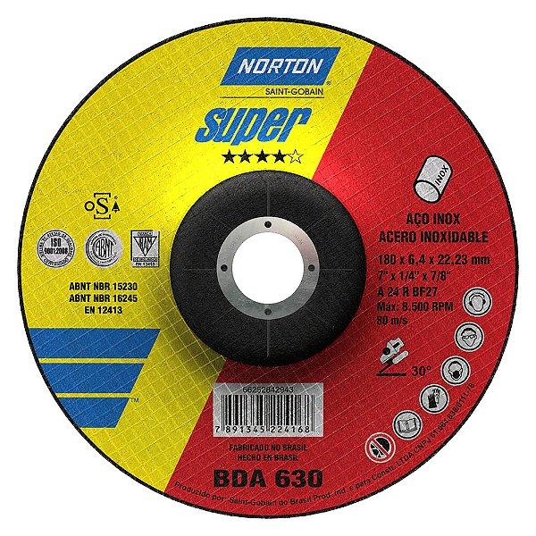 Disco de Desbaste Super Inox BDA630 180 x 6,4 x 22,23 mm Caixa com 10