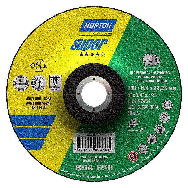 Caixa com 10 Disco de Desbaste Super Não Ferrosos BDA650 230 x 6,4 x 22,23 mm