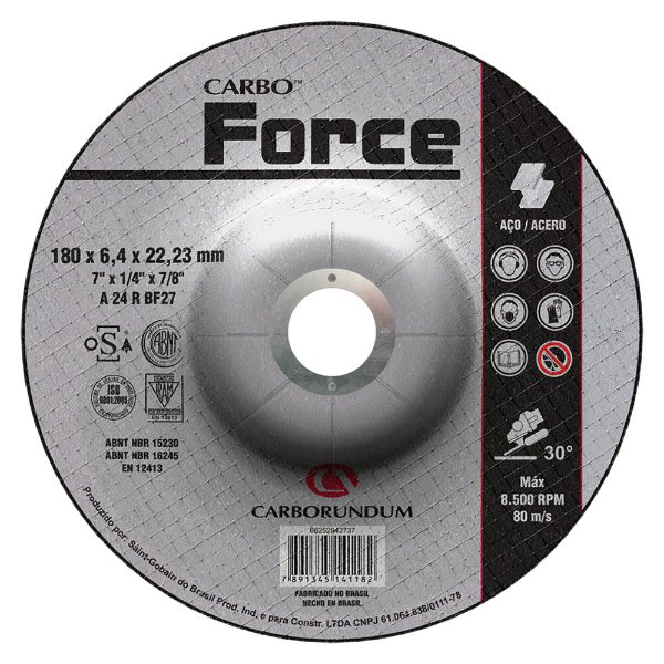 Disco de Desbaste T27 Carbo Force 180 x 6,4 x 22,23 mm Caixa com 10