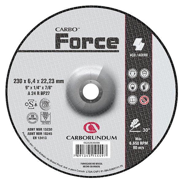 Disco de Desbaste T27 Carbo Force 230 x 6,4 x 22,23 mm Caixa com 10