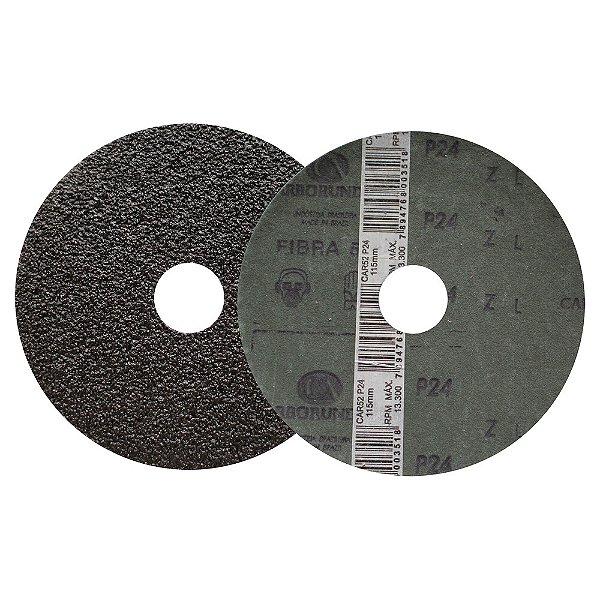 Caixa com 50 Disco de Lixa Fibra CAR52 Grão 24 115 x 22 mm