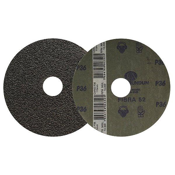 Caixa com 50 Discos de Lixa Fibra CAR52 Grão 36 115 x 22 mm