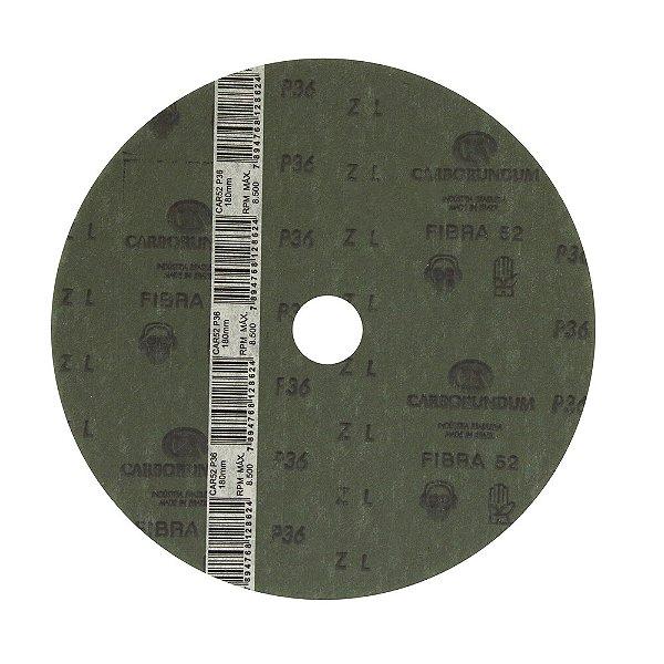 Disco de Lixa Fibra CAR52 Grão 36 180 x 22 mm Caixa com 60