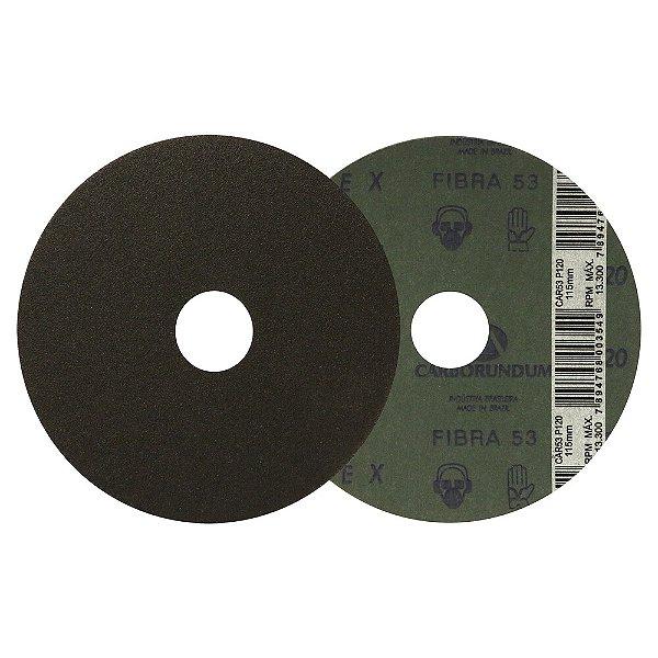 Caixa com 100 Disco de Lixa Fibra CAR53 Grão 120 115 x 22 mm