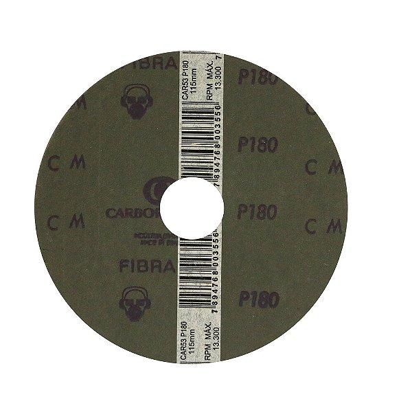 Disco de Lixa Fibra CAR53 Grão 180 115 x 22 mm Caixa com 100