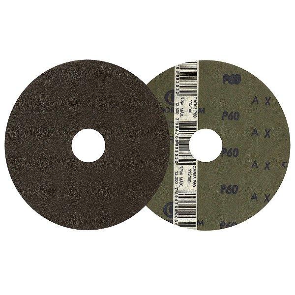 Caixa com 100 Disco de Lixa Fibra CAR53 Grão 60 115 x 22 mm