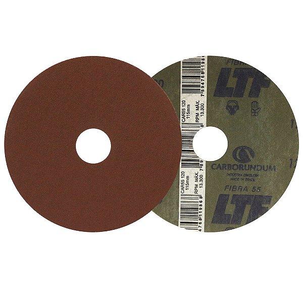 Caixa com 100 Disco de Lixa Fibra CAR55 Grão 120 115 x 22 mm