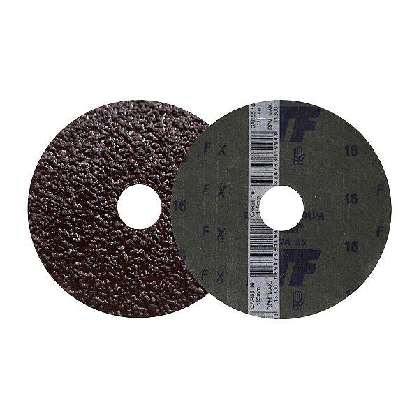 Caixa com 50 Discos de Lixa Fibra CAR55 Grão 16 115 x 22 mm