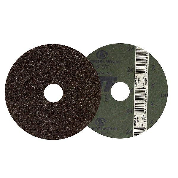 Caixa com 50 Discos de Lixa Fibra CAR55 Grão 24 115 x 22 mm
