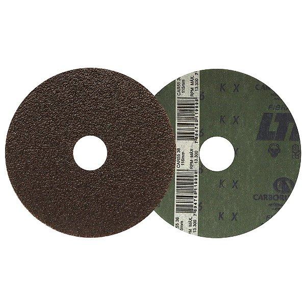 Caixa com 50 Discos de Lixa Fibra CAR55 Grão 36 115 x 22 mm
