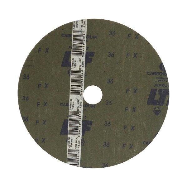 Caixa com 60 Discos de Lixa Fibra CAR55 Grão 36 180 x 22 mm