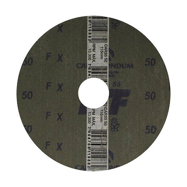 Disco de Lixa Fibra CAR55 Grão 50 115 x 22 mm Caixa com 100