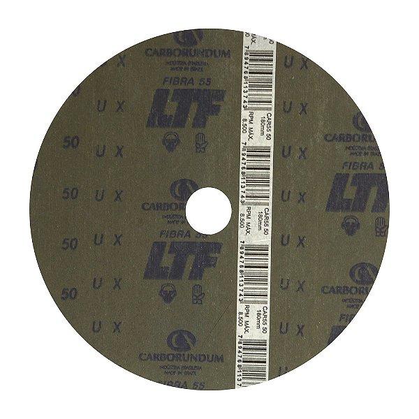 Disco de Lixa Fibra CAR55 Grão 50 180 x 22 mm Caixa com 100