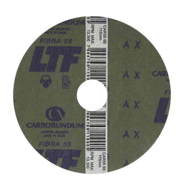 Disco de Lixa Fibra CAR55 Grão 60 115 x 22 mm Caixa com 100