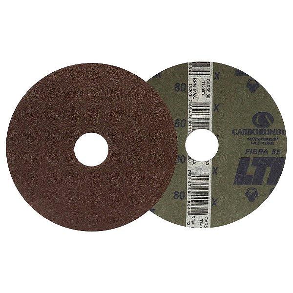 Caixa com 100 Disco de Lixa Fibra CAR55 Grão 80 115 x 22 mm