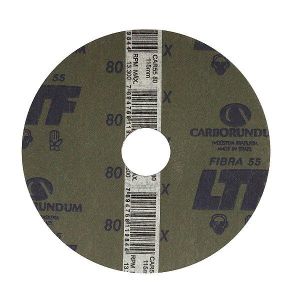 Disco de Lixa Fibra CAR55 Grão 80 115 x 22 mm Caixa com 100