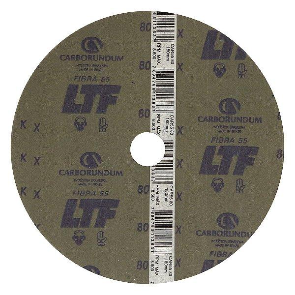 Disco de Lixa Fibra CAR55 Grão 80 180 x 22 mm Caixa com 100