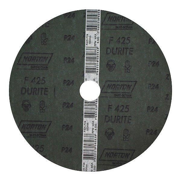 Caixa com 60 Discos de Lixa Fibra Durite F425 Grão 24 180 x 22 mm