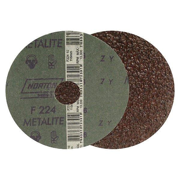 Caixa com 50 Discos de Lixa Fibra Metalite F224 Grão 16 115 x 22 mm