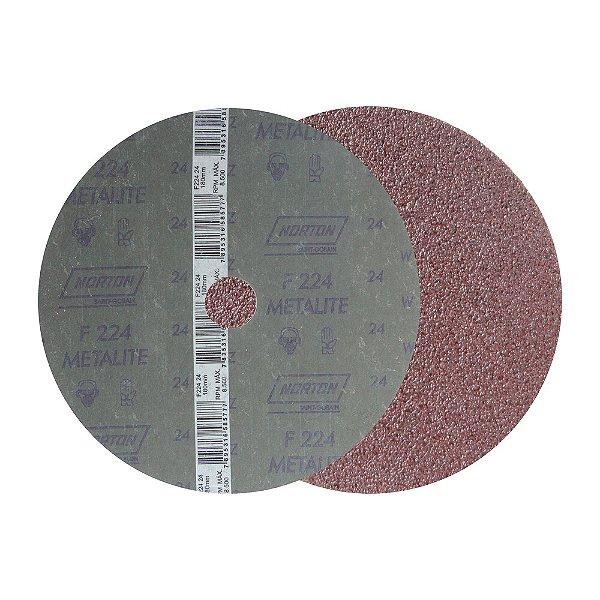 Caixa com 60 Discos de Lixa Fibra Metalite F224 Grão 24 180 x 22 mm