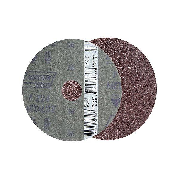 Caixa com 50 Discos de Lixa Fibra Metalite F224 Grão 36 115 x 22 mm
