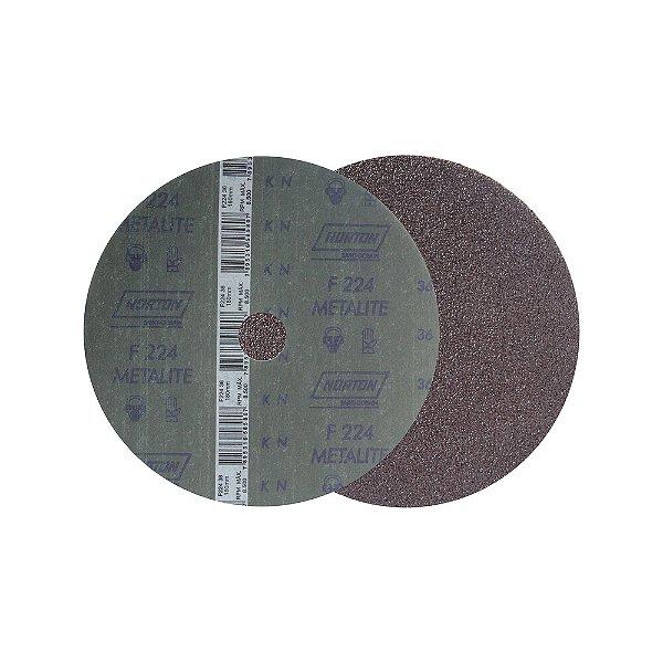 Caixa com 60 Discos de Lixa Fibra Metalite F224 Grão 36 180 x 22 mm