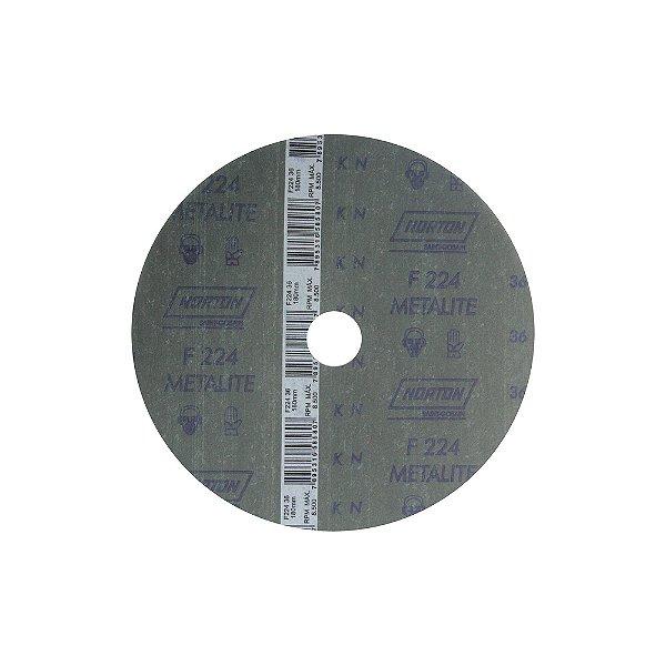 Disco de Lixa Fibra Metalite F224 Grão 36 180 x 22 mm Caixa com 60