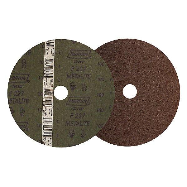 Caixa com 100 Disco de Lixa Fibra Metalite F227 Grão 100 180 x 22 mm