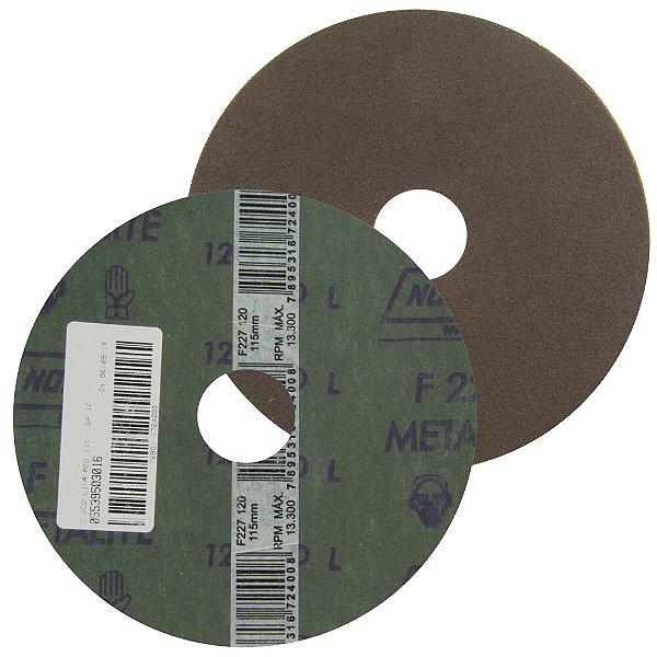 Caixa com 100 Disco de Lixa Fibra Metalite F227 Grão 120 115 x 22 mm