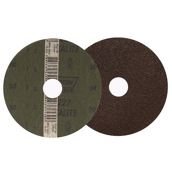 Caixa com 100 Disco de Lixa Fibra Metalite F227 Grão 50 115 x 22 mm