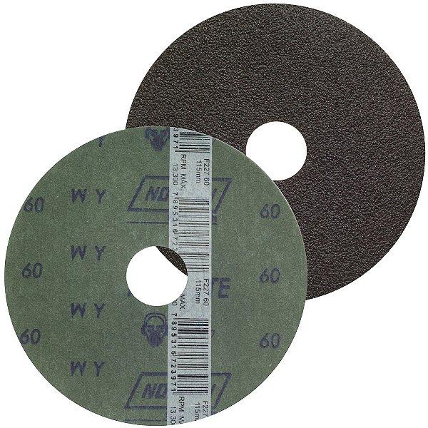 Caixa com 100 Disco de Lixa Fibra Metalite F227 Grão 60 115 x 22 mm