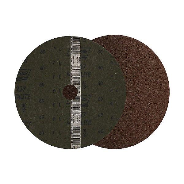 Caixa com 100 Disco de Lixa Fibra Metalite F227 Grão 60 180 x 22 mm