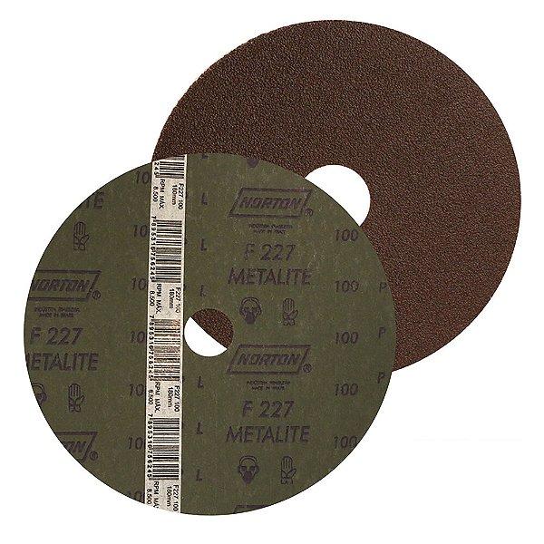 Caixa com 100 Disco de Lixa Fibra Metalite F227 Grão 80 115 x 22 mm