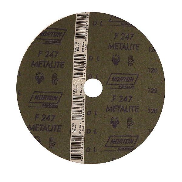 Caixa com 100 Disco de Lixa Fibra Metalite F247 Grão 120 180 x 22 mm