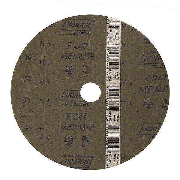 Caixa com 100 Disco de Lixa Fibra Metalite F247 Grão 50 180 x 22 mm