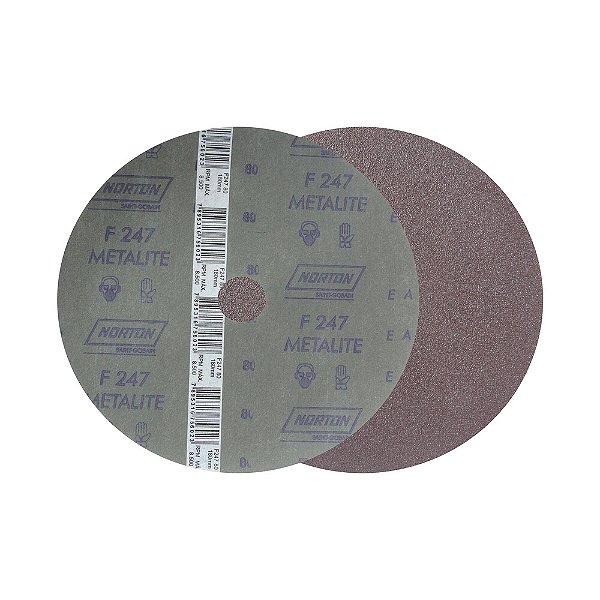 Disco de Lixa Fibra Metalite F247 Grão 80 180 x 22 mm Caixa com 100