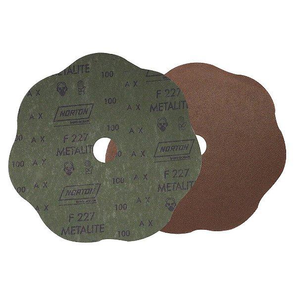 Caixa com 100 Disco de Lixa Fibra Rosete F227 Grão 100 180 x 22 mm