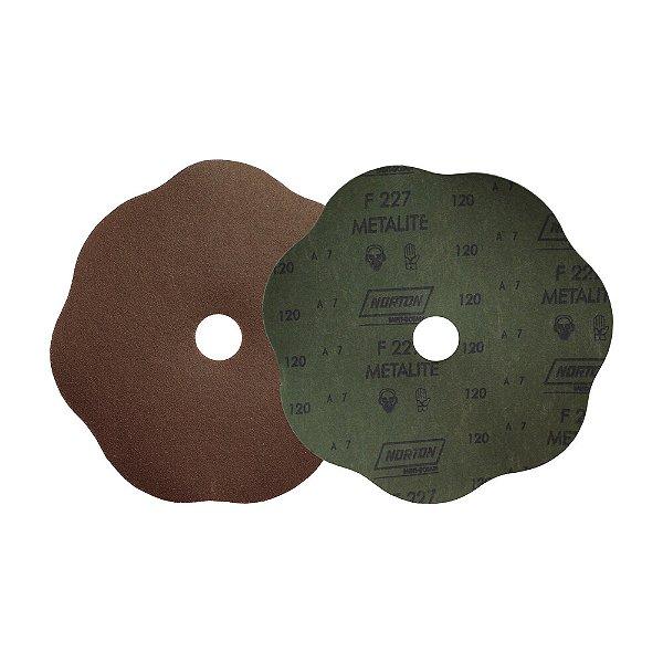 Caixa com 100 Disco de Lixa Fibra Rosete F227 Grão 120 180 x 22 mm