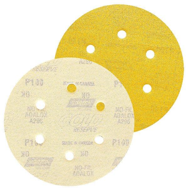 Disco de Lixa Pluma A296 Gold com 6 Furos Grão 100 152 x 0 x 6 mm Caixa com 100